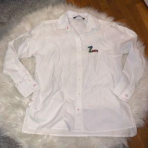 Zara Basic White Bejeweled Z1975 Button Down Shirt